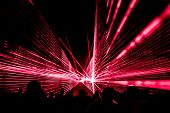 Red Laser Show Nightlife Club Stage With Party People Crowd. Luxury Entertainment With Audience Silh poster