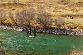 Kokemeren River, Djumgal Kyrgyzstan, River Crossing, Ferry Across The Mountain River poster