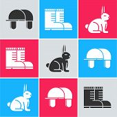Set Hunter Hat, Hunter Boots And Rabbit Icon. Vector poster