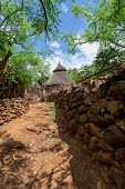 Fantastic Walled Village Tribes Konso. African Village. Africa, Ethiopia. Konso Villages Are Listed  poster