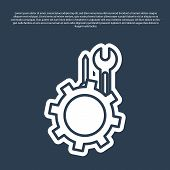 Blue Line Wrench And Screwdriver In Gear Icon Isolated On Blue Background. Adjusting, Service, Setti poster