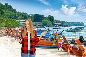 Happy Female Blogger Enjoying View  Of Ko Phi Phi Don Island, Thailand.  Tourist Travel Thailand Hol poster