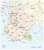 Map Of The Roads And Neighborhoods Of New York Borough Brooklyn poster