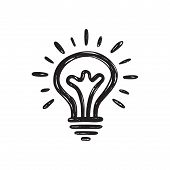 Lightbulb - Creative Icon. Sketch Style Drawing Picture Vector Illustration. Electric Lamp Logo Sign poster