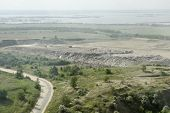 stock photo of landfill  - Place of burial of domestic wastes in the suburbs of Saratov not far from the river Volga - JPG