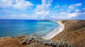 View Of The Deserted Sandy Beach On A Sunny Day. Beautiful Seascape Of Black Sea Coast. Travel Backg poster