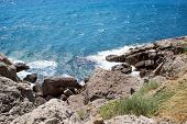 Aerial View Of Rocky Beach. Black Sea. Crimea. poster