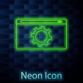 Glowing Neon Line Setting Icon Isolated On Brick Wall Background. Adjusting, Service, Maintenance, R poster
