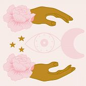 Vector Illustration With Pink Flowers And Celestials And Golden Hands poster