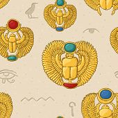Seamless Pattern With Golden Egyptian Scarabs With Hieroglyphs poster