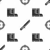 Set Target Sport For Shooting Competition, Hunter Knife And Hunter Boots On Seamless Pattern. Vector poster
