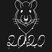 Black And White Graffiti 2020 New Year Rat. Rat Head And Numbers With Smudges Of Paint And Drops. Te poster