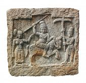 stock photo of vijayanagara  - Stone carving of hindu god and godess on a granite stone - JPG