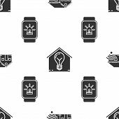 Set Smart Home With Wi-fi, Smart House And Light Bulb And Smart Watch With Smart House And Alarm On  poster