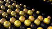 Computer Generated Shining Black And Gold Spheres. 3d Rendering Of Geometric Background poster