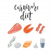 Products For Carnivore Diet. Weight Loss Meal, Healthy Eating. Meat, Cheese, Eggs, Fish, Steak, Rose poster