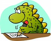 stock photo of cartoon animal  - Cartoon illustration of a dinosaur writing with a pencil - JPG