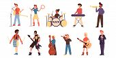 Cartoon Teenage Different Musicians Set. Isolated On White. Young Musicians Flat Characters Playing  poster