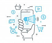 Hand Holds Phone Social Network Marketing. Virtual Communication Smartphone. Cooperation Interaction poster