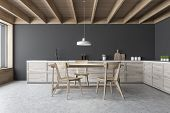 Gray Kitchen Interior, Countertops And Wood Table poster