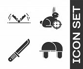 Set Hunter Hat, Trap Hunting, Hunter Knife And Hunt On Rabbit With Crosshairs Icon. Vector poster