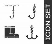 Set Fishing Hook, Fishing Hook Under Water, Fishing Boots And Fishing Hook Icon. Vector poster