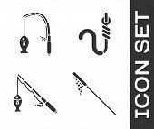 Set Fishing Net, Fishing Rod And Fish, Fishing Rod And Fish And Fishing Hook And Worm Icon. Vector poster