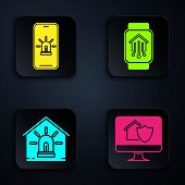 Set Computer Monitor With House Under Protection, Mobile Phone With Smart House And Alarm, Smart Hou poster