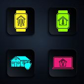 Set Laptop With Smart House And Light Bulb, Smart Home With Smart Watch, House Under Protection And  poster