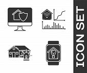 Set Smart Watch With Smart House And Light Bulb, Computer Monitor With House Under Protection, Smart poster