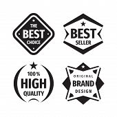 Business Badges Vector Set In Retro Vintage Design Style. The Best Choice.  Best Seller. 100% High Q poster