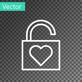 White Line Lock And Heart Icon Isolated On Transparent Background. Locked Heart. Love Symbol And Key poster