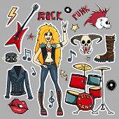 Lips, Skull, Guitar Stars, Arrows, Rock Symbols, Rock Singer, Black Jacket, Boots, Vinyl Record, Pun poster