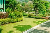 Green Lawn, The Front Lawn For Background, Garden Landscape Design, The Landscape Of The Entrance To poster