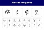 Electric Energy Line Icon. Set Of Line Icons On White Background. Power, Electricity, Lightning. Ene poster