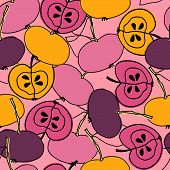 Seamless Pattern With Apples For Surface Design, Posters, Illustrations. Trendy Magenta Shades. Heal poster