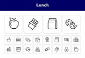 Lunch Line Icon Set. Vegan Burger, Drink, Fruit, Bag, Pack. Food Concept. Can Be Used For Topics Lik poster