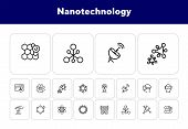 Nanotechnology Line Icon Set. Radar Satellite, Vr Headset, Organic Molecule. Modern Technology Conce poster