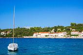 Quiet Picturesque Village By The Sea. Korcula, Croatia. According To Local Tradition, It Was In Korc poster