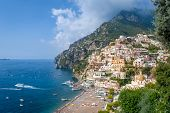 Positano View From Hogh Viewpoint. Old Town And Black Sand Beach. Amalfi Coast, Italy. poster