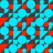 Bauhaus Style Seamless Pattern, Geometric Modern Flat Background With Shapes, Blue And Red Vector Gr poster