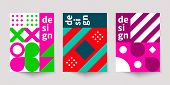 Bauhaus Geometric Minimal Poster, Cover For Booklet, Brochure, Vector Color Template, Colorful Swiss poster