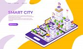 Isometric City Landing Page. Futuristic Digital Town With Innovative Buildings And Technology. Vecto poster