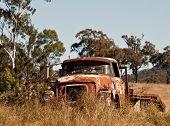 stock photo of truck farm  - Australian outback rusty old farm truck in paddock - JPG