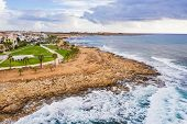 Paphos, Cyprus, Aerial View From Drone Of Famous Tourist Resort Coastline. poster