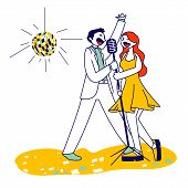Cheerful Couple Singing Song With Microphones In Karaoke Bar Or Nightclub With Stroboscope. Weekend  poster