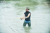 Man Bearded Fisher. Weekend Time. Carry On Fishing. Portrait Cheerful Man. Weekends Made For Fishing poster