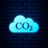 Glowing Neon Co2 Emissions In Cloud Icon Isolated On Brick Wall Background. Carbon Dioxide Formula S poster