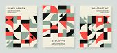 Retro Bauhaus Covers Set. Vector Design With Colorful Geometric Compositions For Book Covers, Poster poster