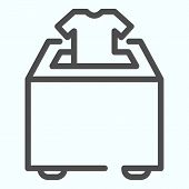 Clothes Donation Box Line Icon. Putting Clothes Into The Donation Box Vector Illustration Isolated O poster